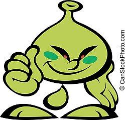 cudzoziemiec, uśmiech, zielony potwór