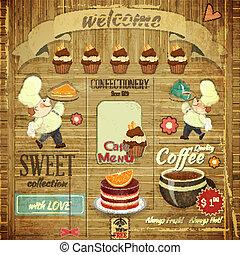cukiernia, kawiarnia, projektować, menu, retro