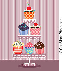 cupcakes, stać, wektor