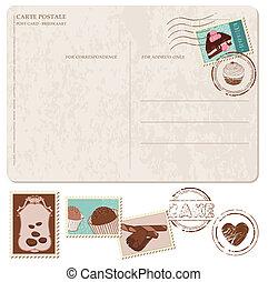 cupcakes, stary, kartka pocztowa, -, pieczęcie, wystawiany zamiar, scrapbooking