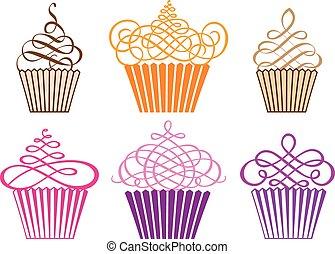 cupcakes, wektor, komplet