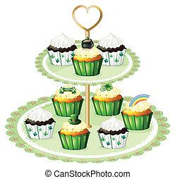 cupcakes, zielony, stać