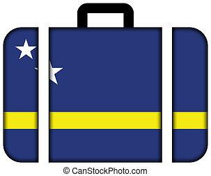 curacao., pojęcie, przewóz, podróż, bandera, walizka, ikona