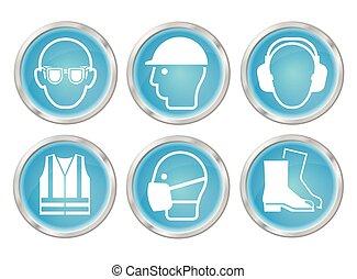 cyan, zdrowie, bezpieczeństwo, ikony