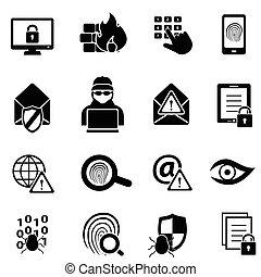cybersecurity, komputerowe ikony, bezpieczeństwo, wirus