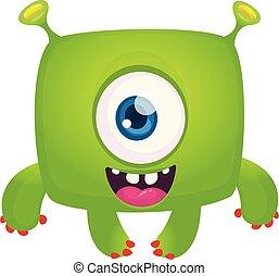cyclops., ilustracja, halloween, potwór, wektor, zabawny, rysunek, śmiech