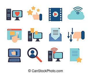 cyfrowy, dane, ikony, multimedia, komplet, technologia