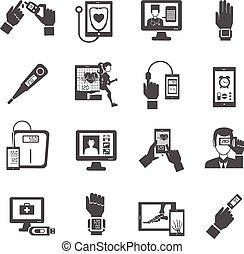 cyfrowy, ikony, komplet, zdrowie