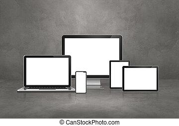 cyfrowy, ruchomy, tabliczka, konkretny, laptop, pc., telefon, tło, komputer