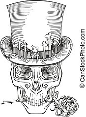 cylinder, ludzka czaszka