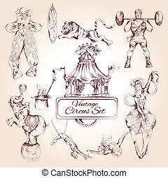 cyrk, ikony, rocznik wina, komplet