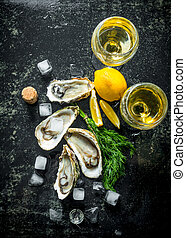 cytryna, koper, lód, surowy, kostki, świeży, wino., ostrygi