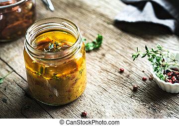 cytryna, pomidor, zasuszony, vinaigrette, słońce, tymianek