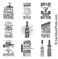 cytuje, graficzny, wino, komplet, rocznik wina