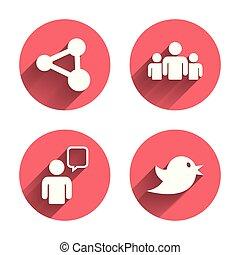 część, ludzie, grupa, bubble., mowa, icons.
