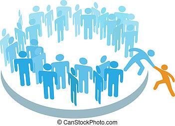 członek, grupa, pomoc, ludzie, wielki, nowy, wstąpić
