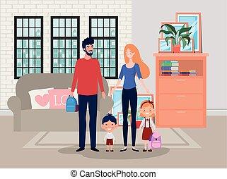 członki, dom, livingroom, scena, rodzina