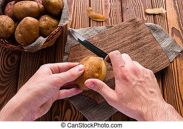 człowiek, łuszczenie, kartofle