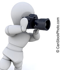 człowiek, 3d, aparat fotograficzny, używając