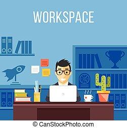 człowiek, biuro, work., garnitur