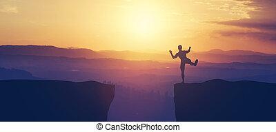 człowiek, cliff., ostrze, balansowy