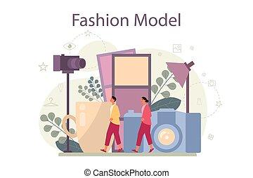 człowiek, concept., wzór, kobieta, przedstawiać, nowy, odzież, fason