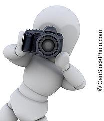 człowiek, cyfrowy, 3d, aparat fotograficzny