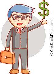 człowiek, dolar, handlowy znaczą