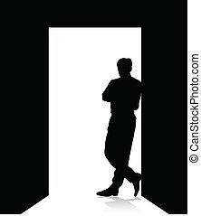 człowiek, drzwi, nachylenie