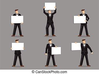 człowiek, garnitur, łuk, rysunek, dzierżawa, czarnoskóry, wektor, znak, krawat