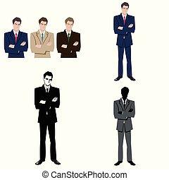 człowiek, garnitur, handlowy