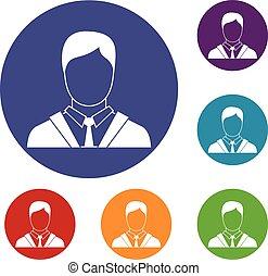 człowiek, garnitur, komplet, handlowe ikony