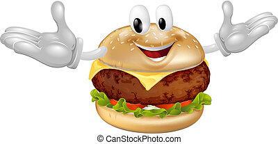 człowiek, hamburger, maskotka