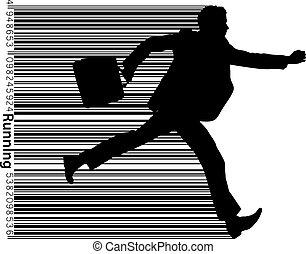 człowiek, handlowy, silhouette.