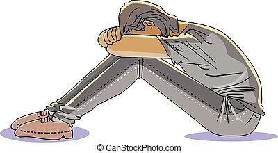 człowiek, ilustracja, smutny