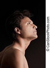człowiek, indianin, młody, portret