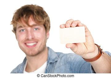 człowiek, karta, handlowy