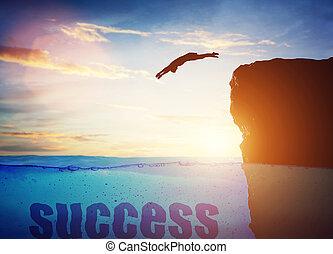 człowiek, konceptualny, success., skokowy