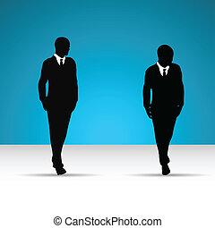 człowiek, krawat, garnitur, handlowy, silhouette.