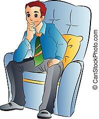 człowiek, krzesło, miękki, ilustracja, posiedzenie