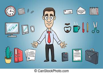 człowiek, litera, handlowy, opakujcie