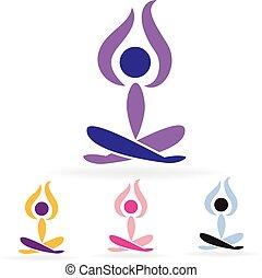człowiek, logo, komplet, yoga