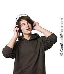 człowiek, muzyka, słuchać