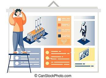 człowiek, opis, fabryka, automatyzacja, afisz, prezentacja, przemysł, robot-driven, patrząc