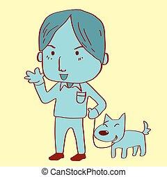 człowiek, pies pieszy, jego