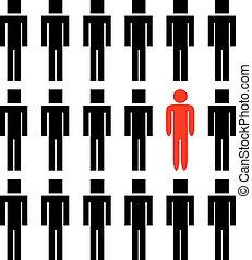 człowiek, różny, jeden, inny, ludzie