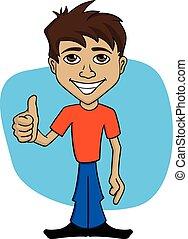 człowiek, rysunek, ilustracja, szczęśliwy