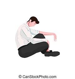 człowiek, smutny, ilustracja