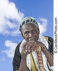 człowiek, stary, afrykanin