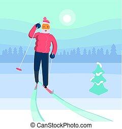 człowiek, stary, narciarz